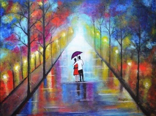 Romantic Interlude Sold Fine Art  by Manjiri Kanvinde