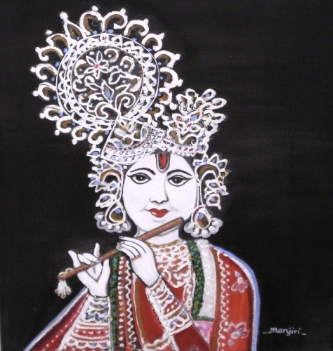 Lord Krishna Mixed Media FIne Art