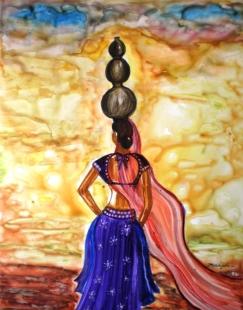 Rajasthani Lady Landscape Fine Art