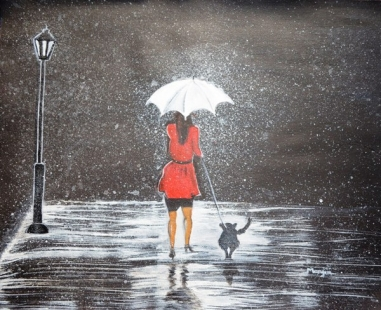 Stroll in the Rain Fine Art