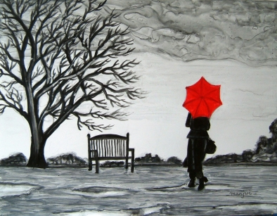 Randezvous in the Rain Painting Fine Art