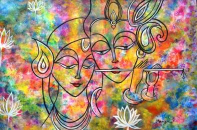 Radha Krishna Holi Art Fine Art  by Manjiri Kanvinde