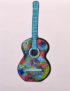 Abstract Guitar Painting  Fine Art