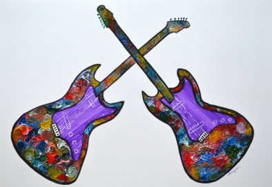 Guitars Painting Abstract Fine Art