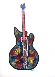 Guitar III Abstract paint Fine Art