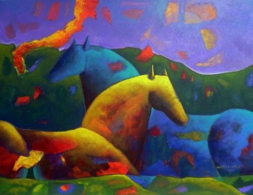 Caballos y volcan Fine Art