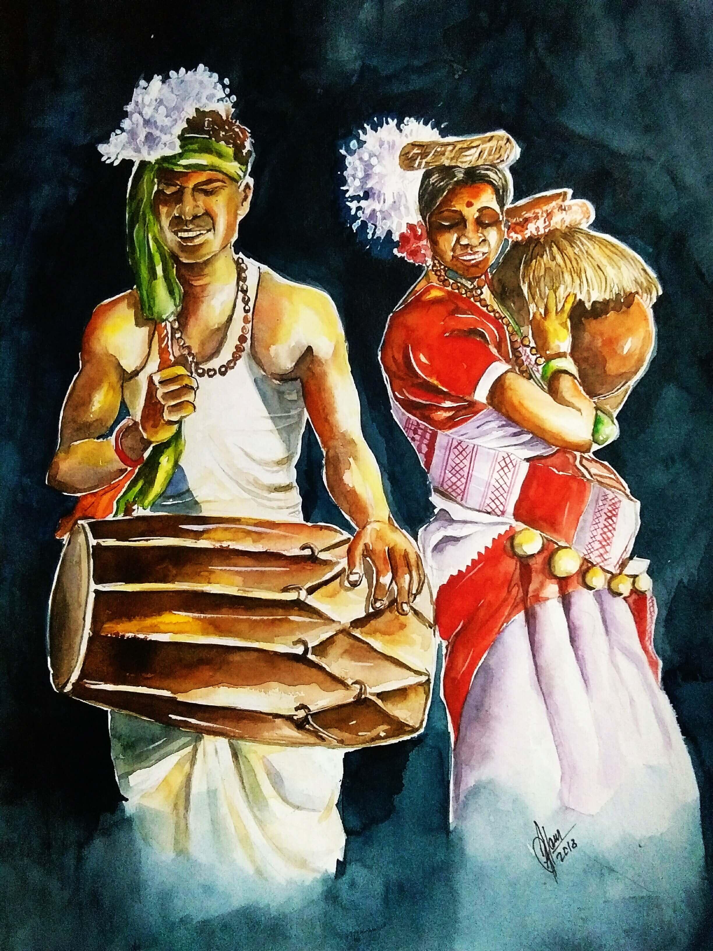 Sarhul Puja Painting Fine Art