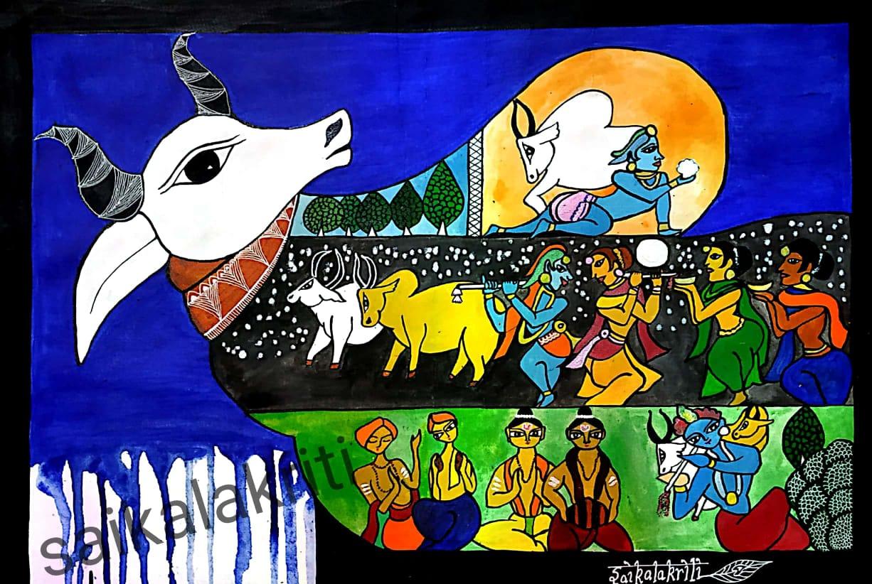 Gopala Krishna Katha Fine Art Painting