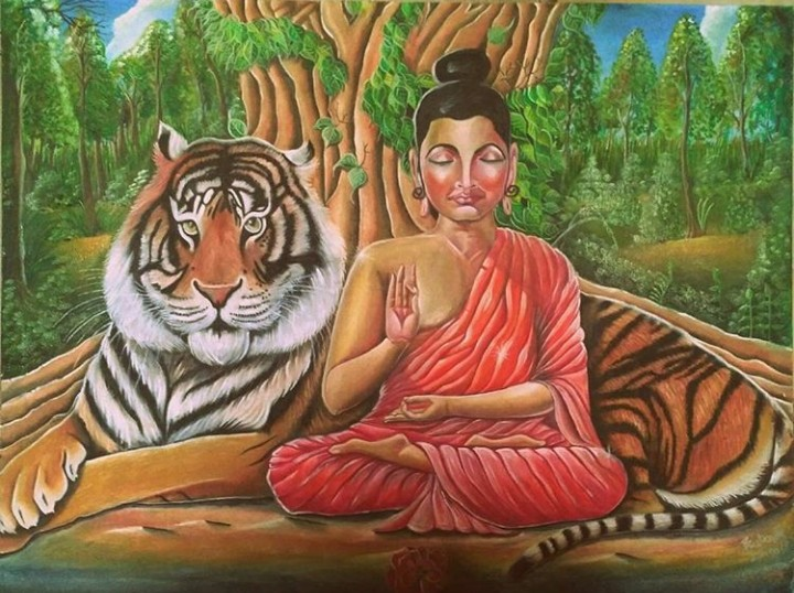 Ultimate Sacrifice Buddha Painting Fine Art