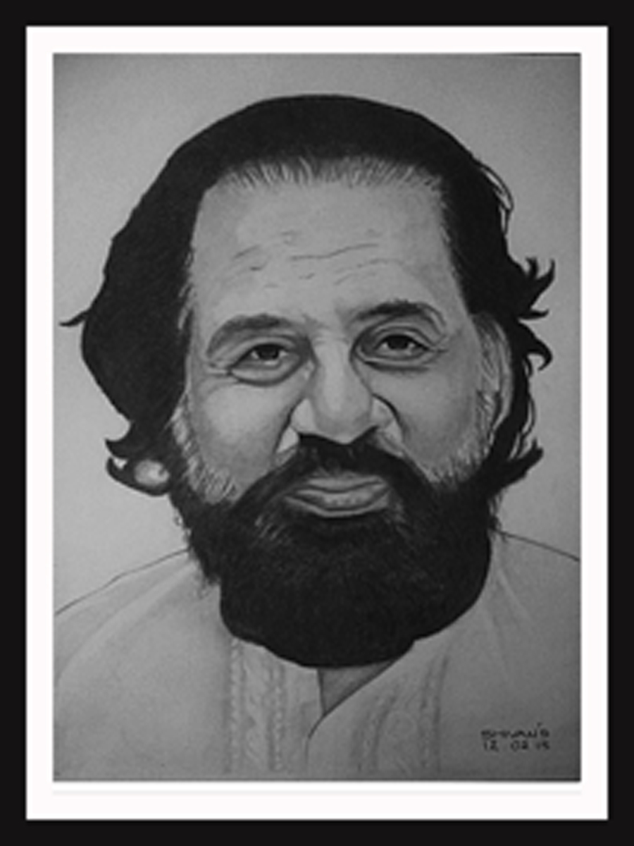 INDIAN SINGER K.J. YESUDAS Fine Art by Shivkumar Menon