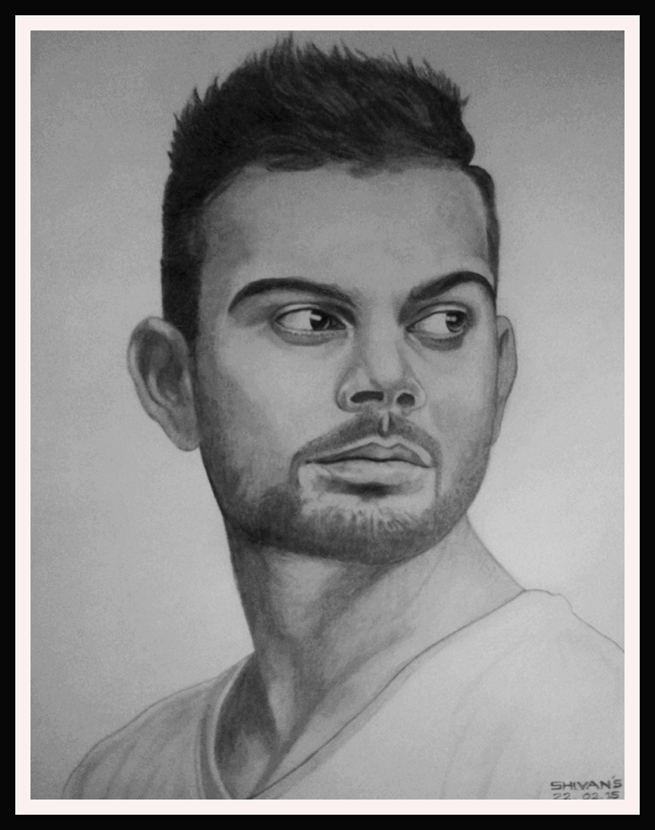 Indian Cricket Captain Virat Kohli Drawing By Shivkumar