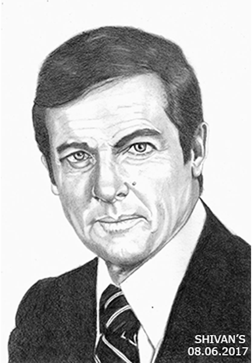 ENGLISH ACTOR ROGER MOORE - JAMES BOND Fine Art
