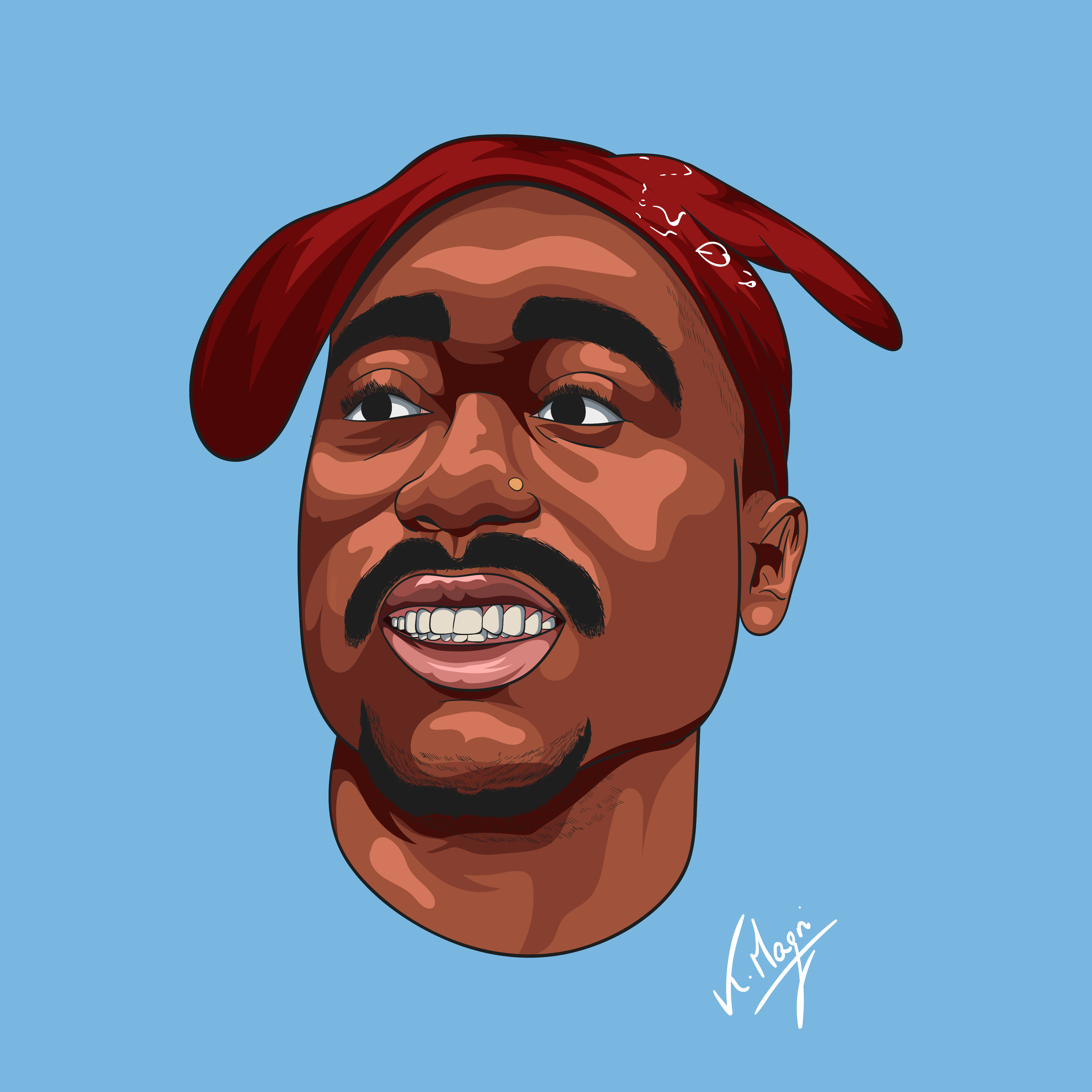 Tupac Shakur Cartoon Illustration  Digital Art