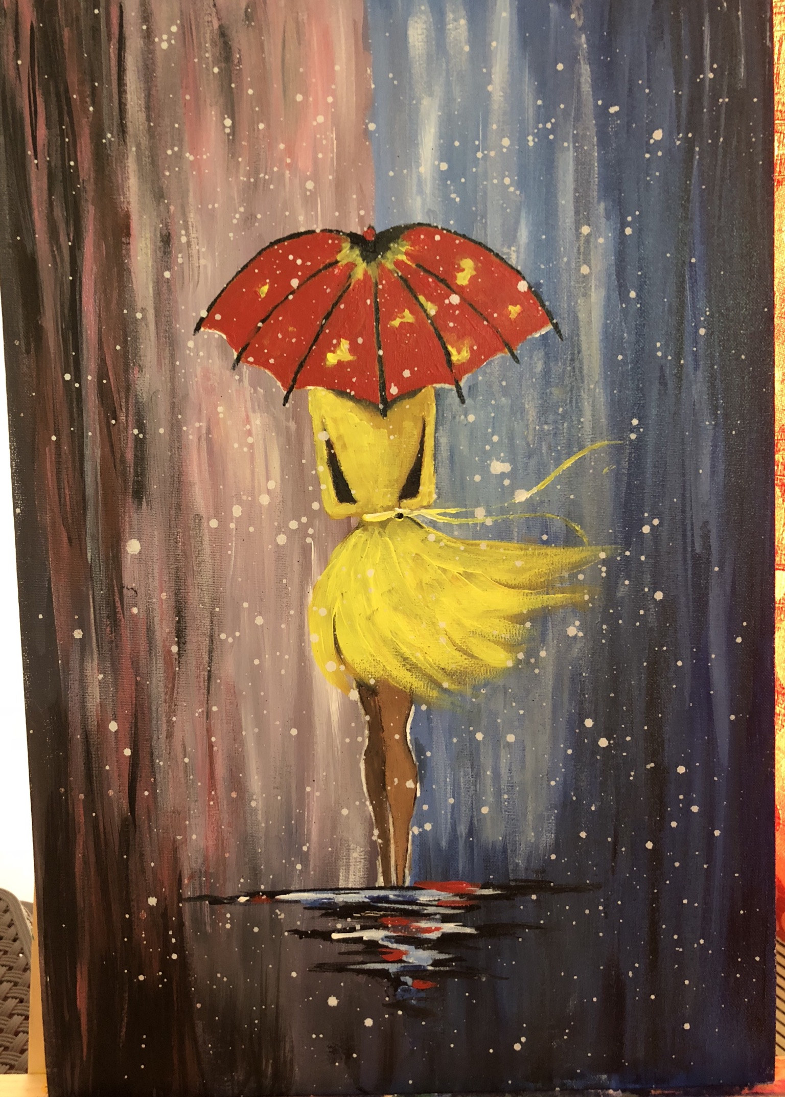 Girl With A Red Umbrella Painting Fine Art