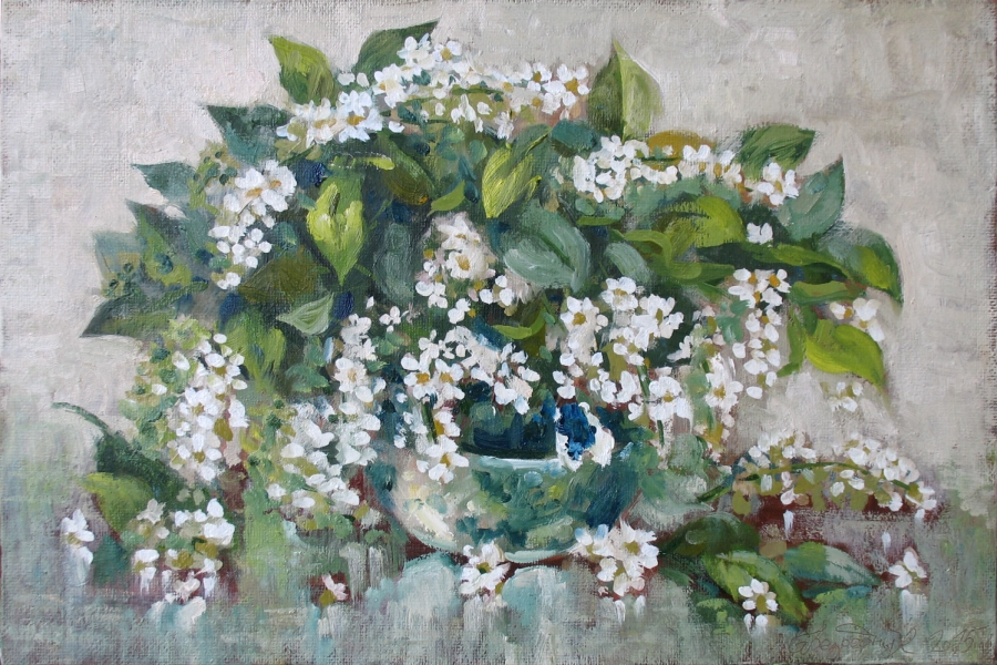 Flower Bouquet Oil Painting by Bezrodnykh Alexander