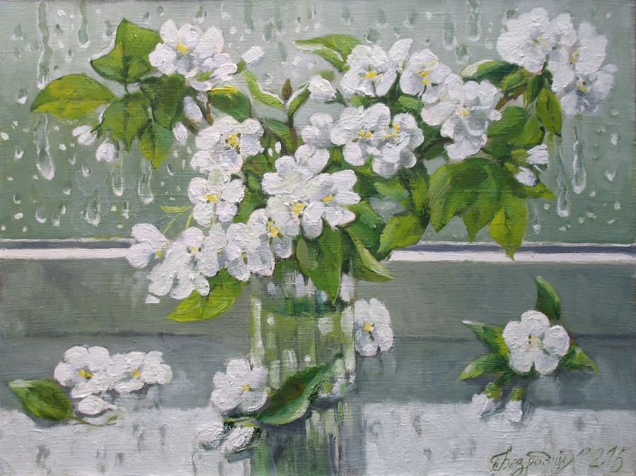 Apple Flowers Painting Fine Art by Bezrodnykh Alexander