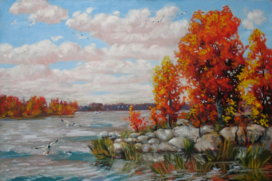 The lake autumn Fine Art