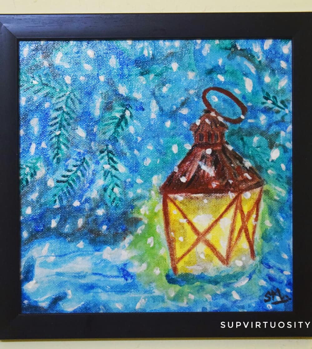 Lantern In Snow Fine Art