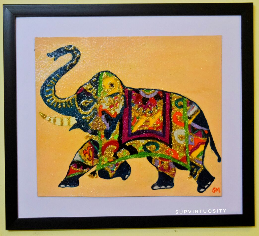Indian Colours On Elephant- Holi Fine Art