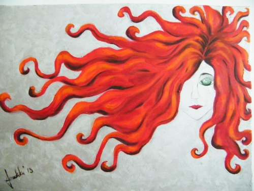 Red head hand made Fine Art