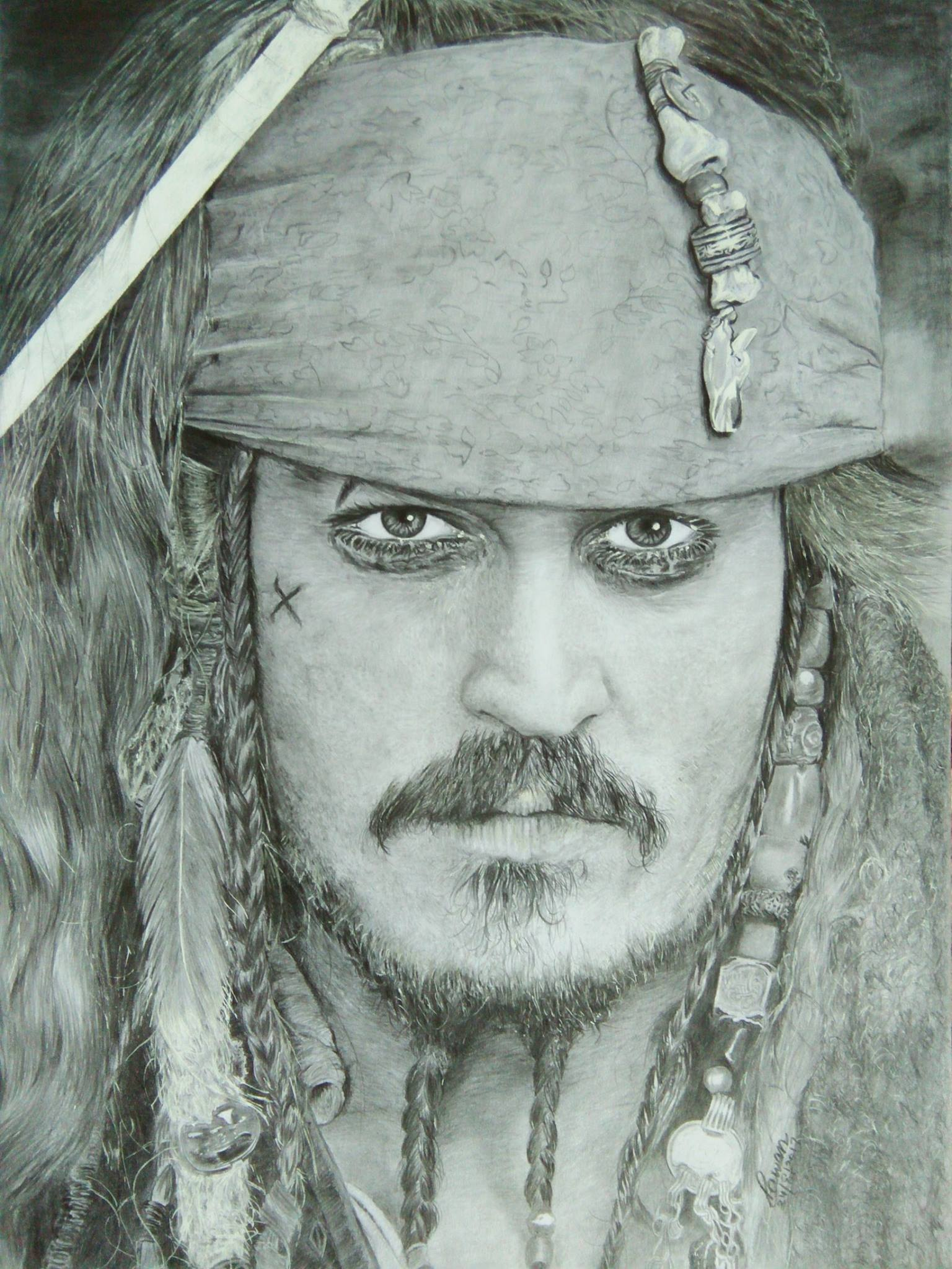 Jonny Depp Sketch Fine Art by Pawan Kumar