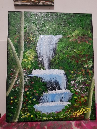 Waterfall Flowery Forest Fabric Art