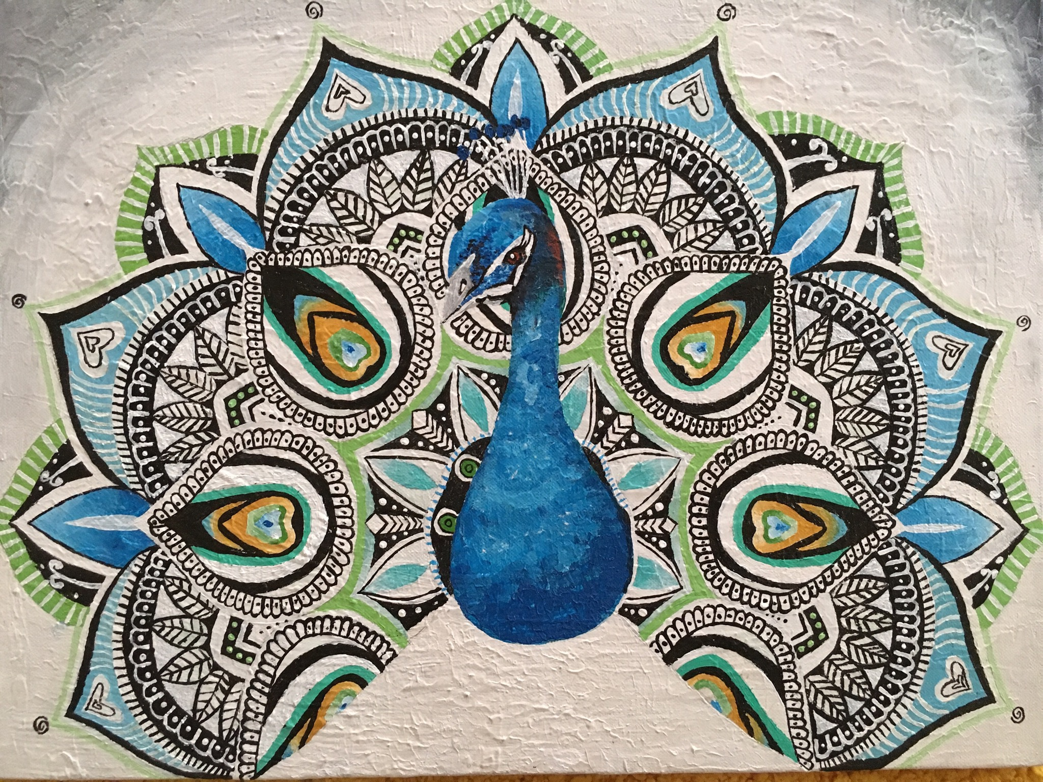 Peacock Doodle On Canvas  Fine Art