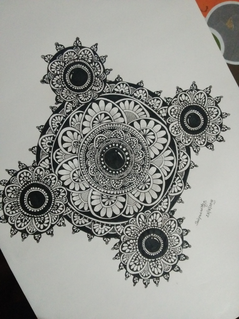 Leaf Mandala with Graphite Pen Fine art