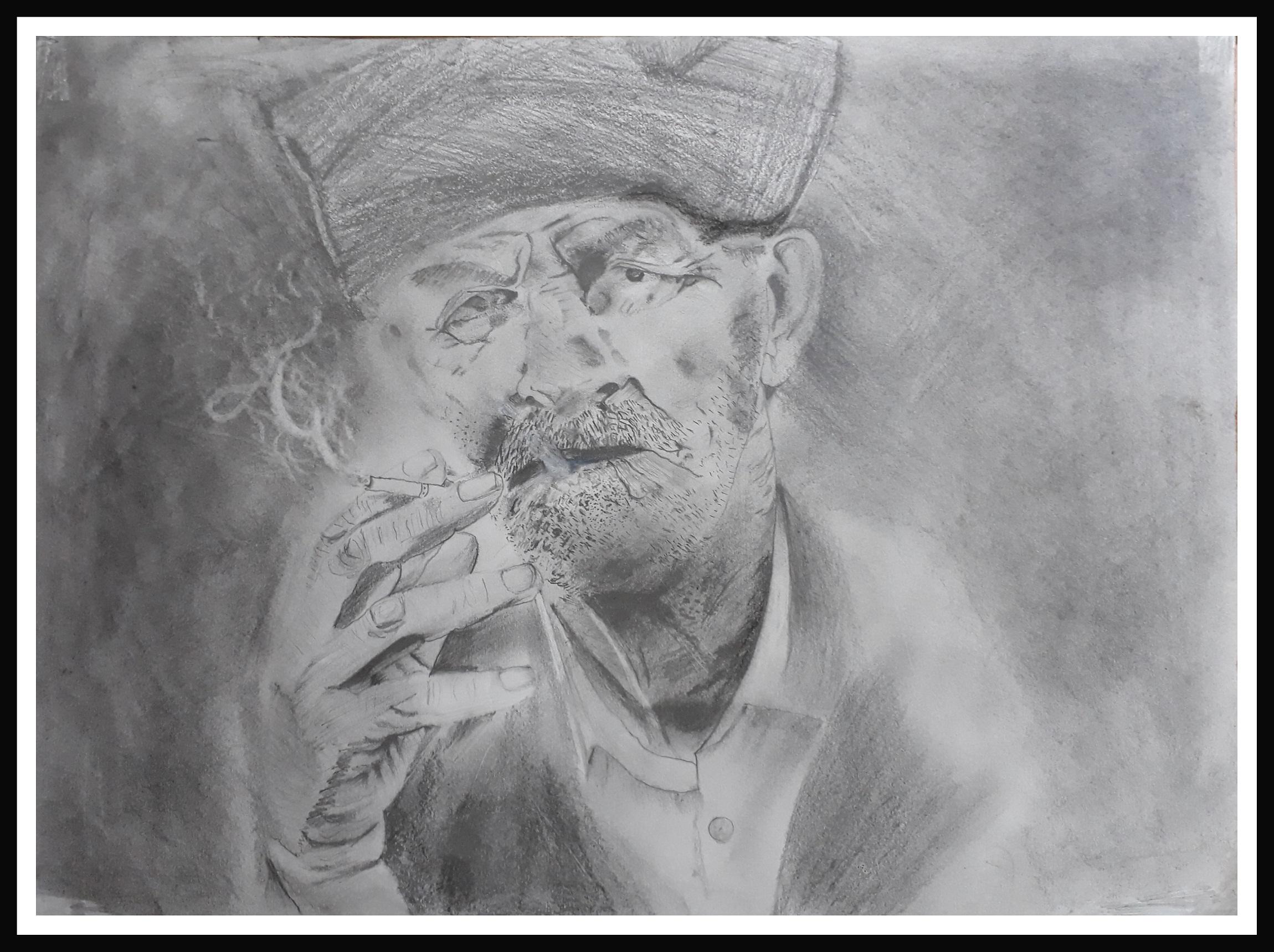 Attitude Pencil Sketch Fine Art by VIKRAM CHOPDE