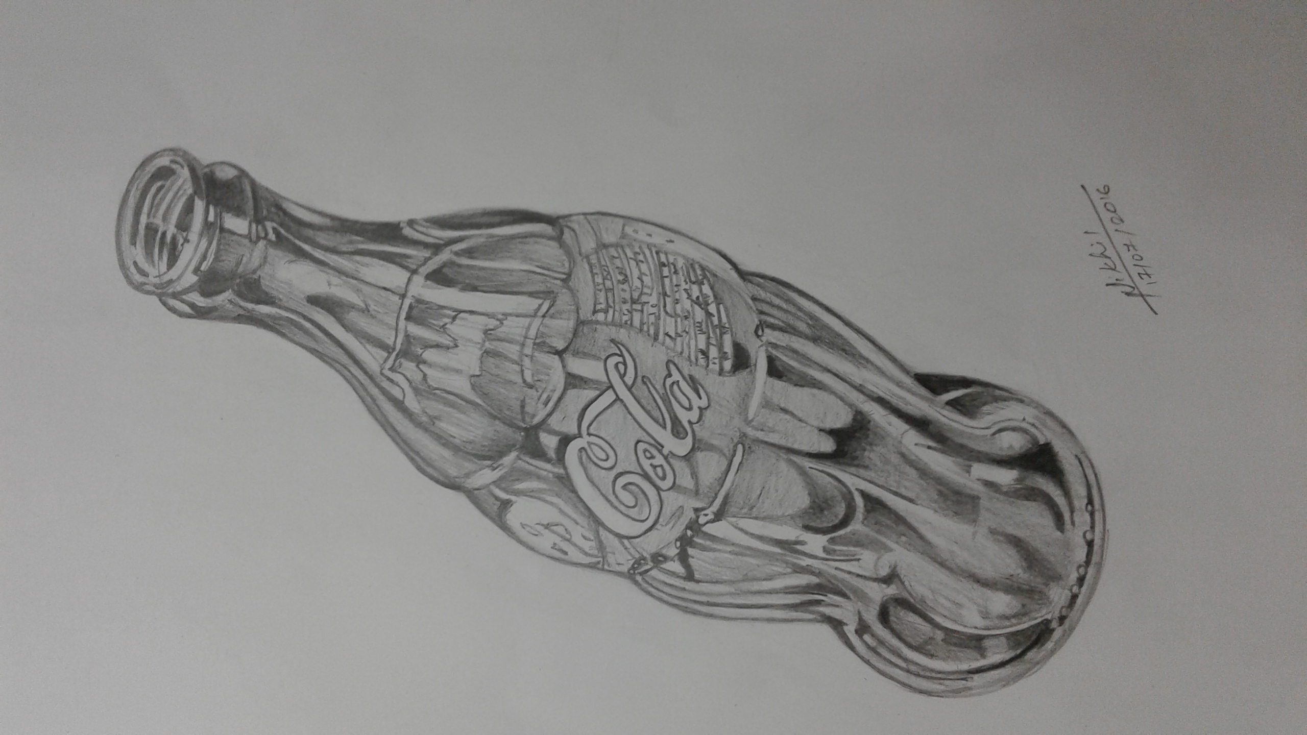 Coca cola bottle pencil drawing fine art