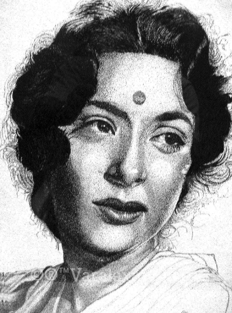 Nargis Dutt Portrait Ink Sketch