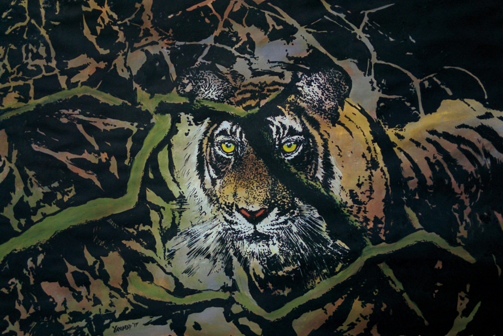Tiger In The Bush Fine Art by Yusuf Madhiya