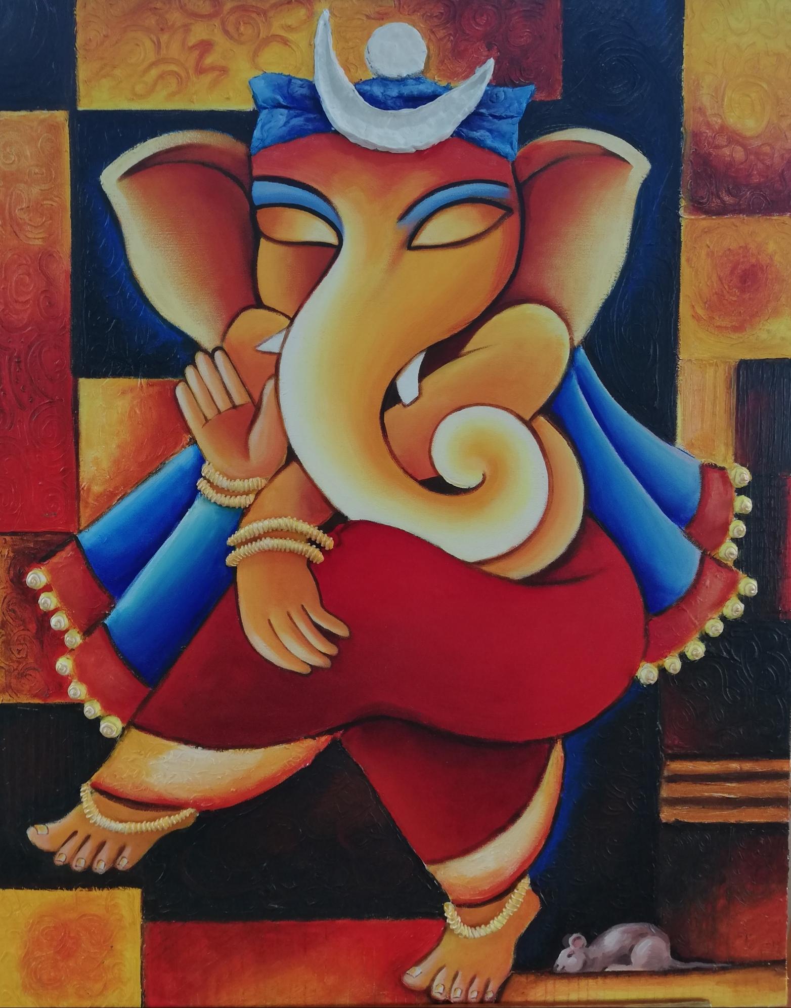 Nritya Ganesh: Acrylic On Canvas Fine Art