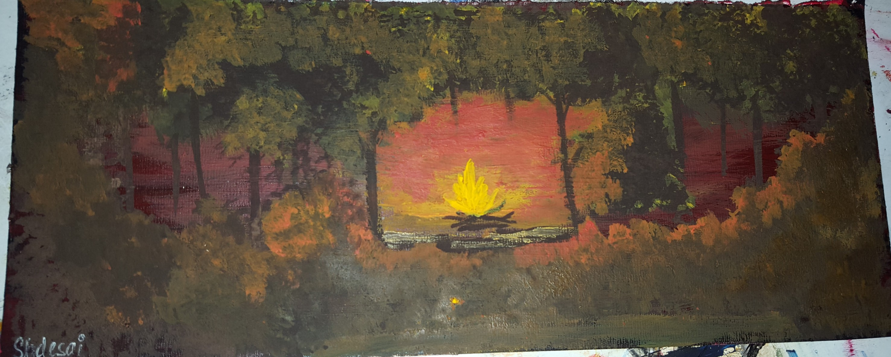 Warmth Of A Campfire - Painting Fine Art