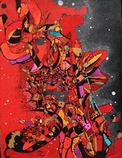 Red the rebirth 3 by Ufaq Fine Art  by Ufaq Ehsan