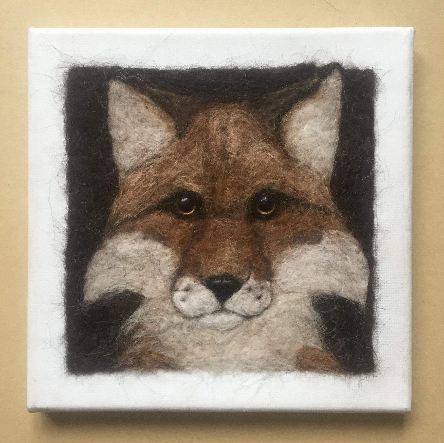 Fox Dog Hair Wall Art  Fabric Art