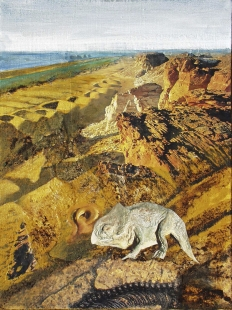 Desert Mountains with Prehistorical Animal Fine Art