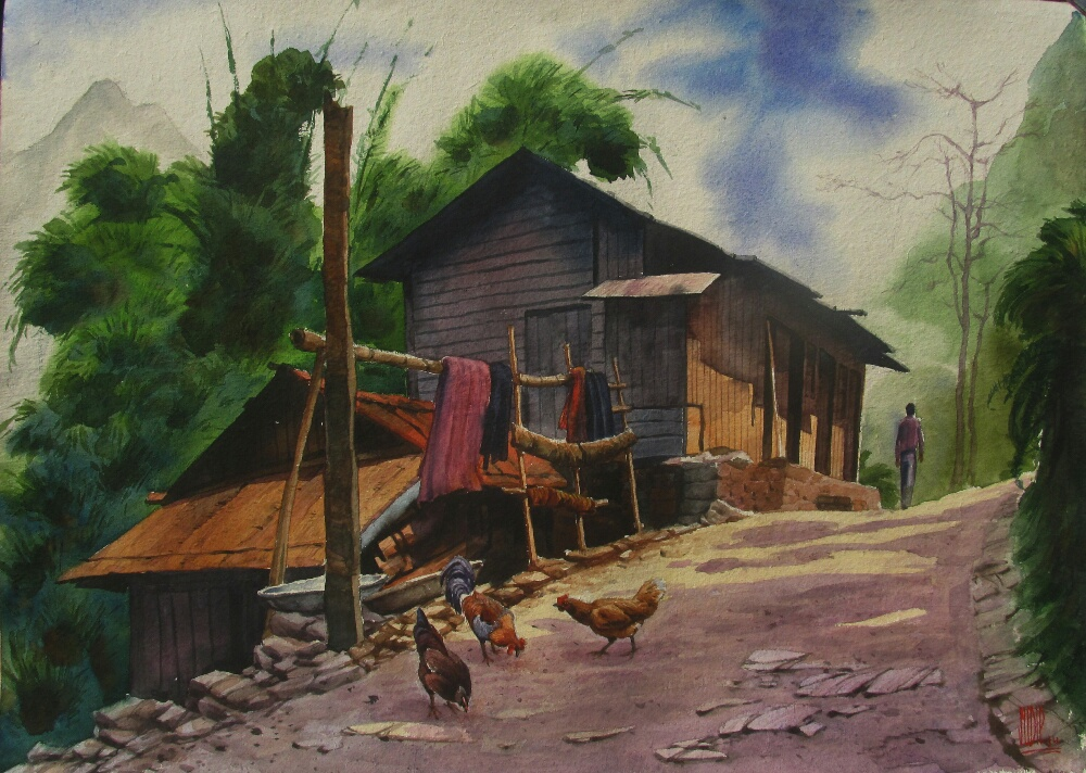 Village Watercolour Painting Fine Art