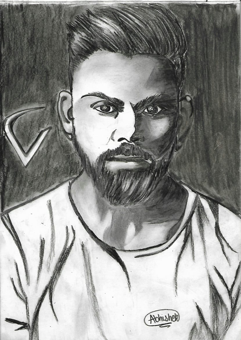 Portrait Sketch Of Virat Kohli