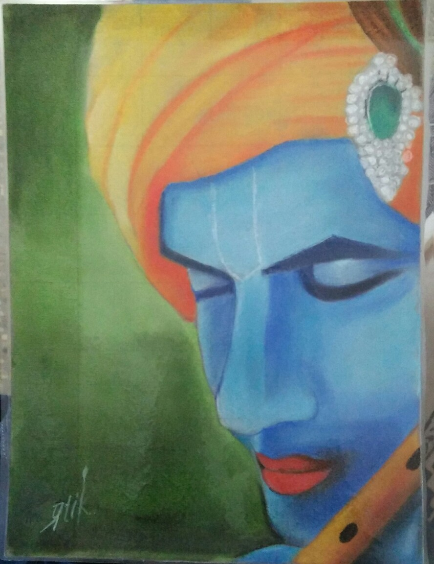 Lord Krishna Soft Pastel Work  Fine Art by Pratik Mane