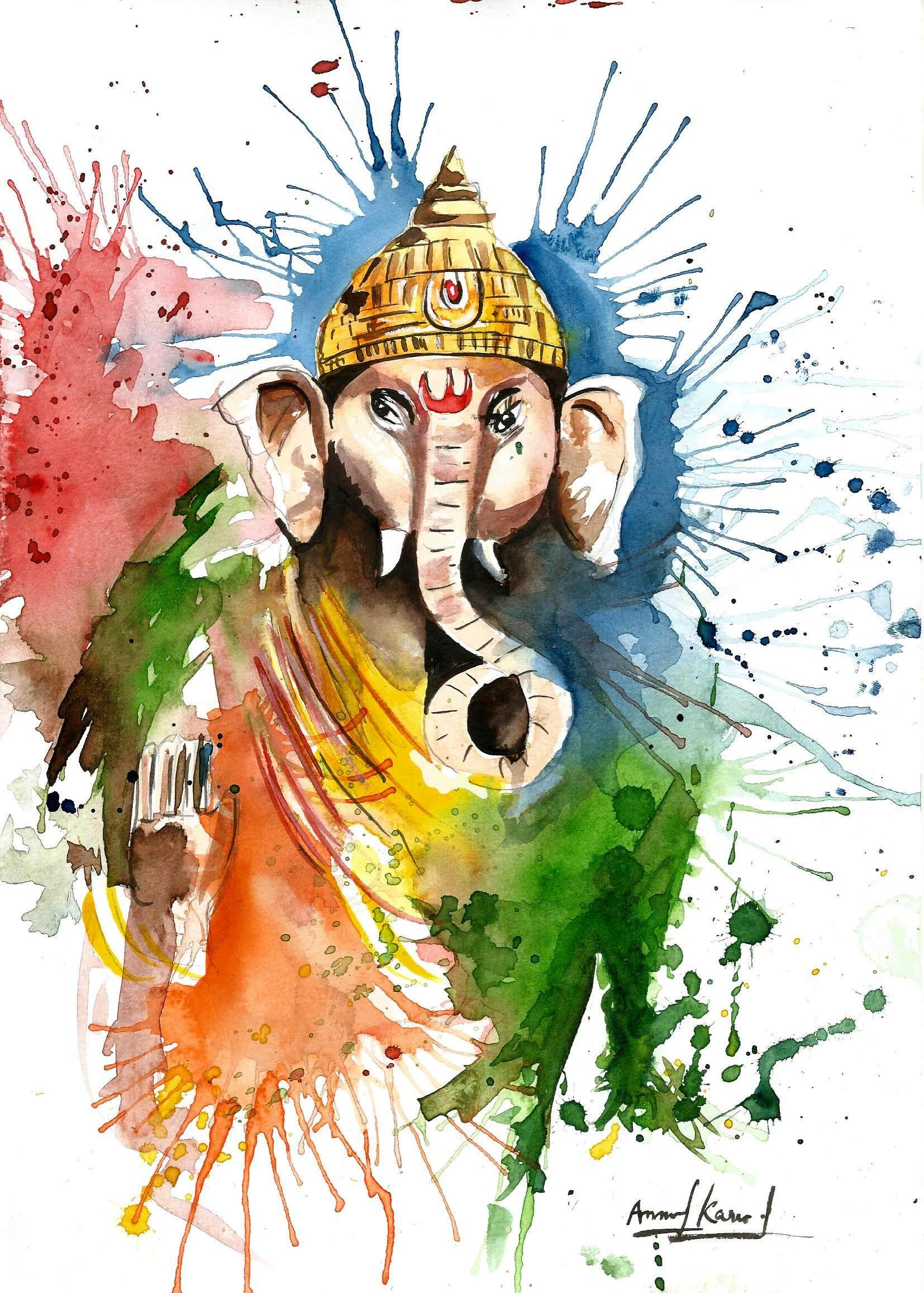 Watercolor Lord Ganesha Painting By Anmol Karwal Paintings