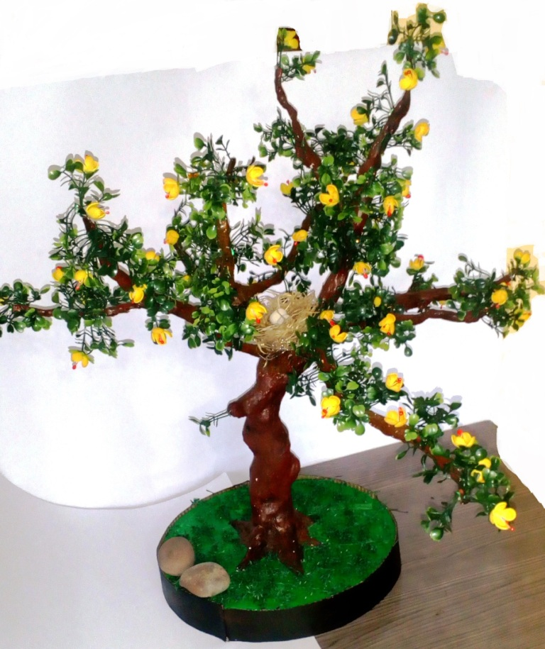 Bonsai Tree With Yellow Flower Sculptures
