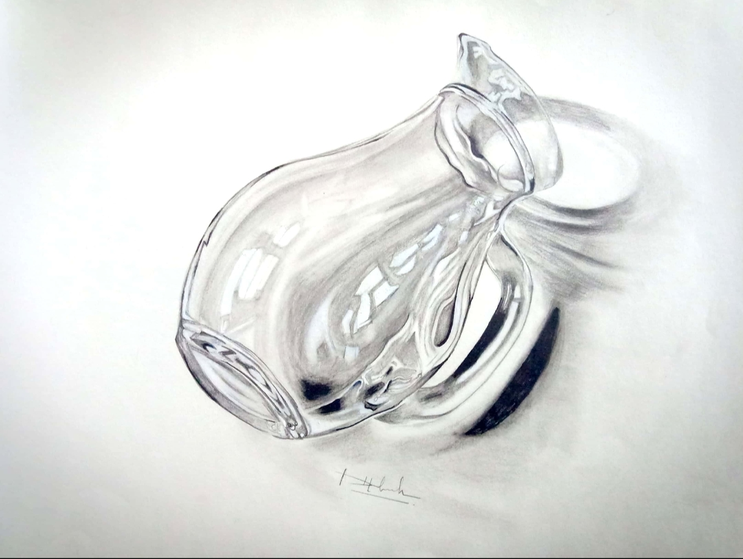 3 D Jug Graphite Sketch