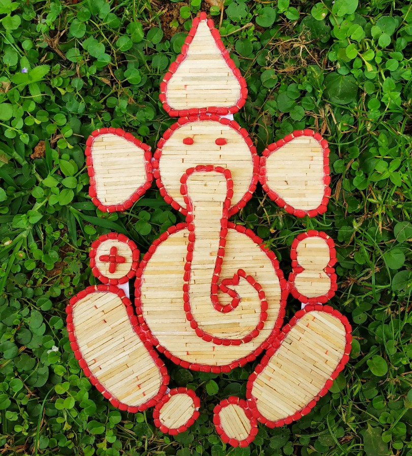 Matchstick Ganesh Ji Fine Art