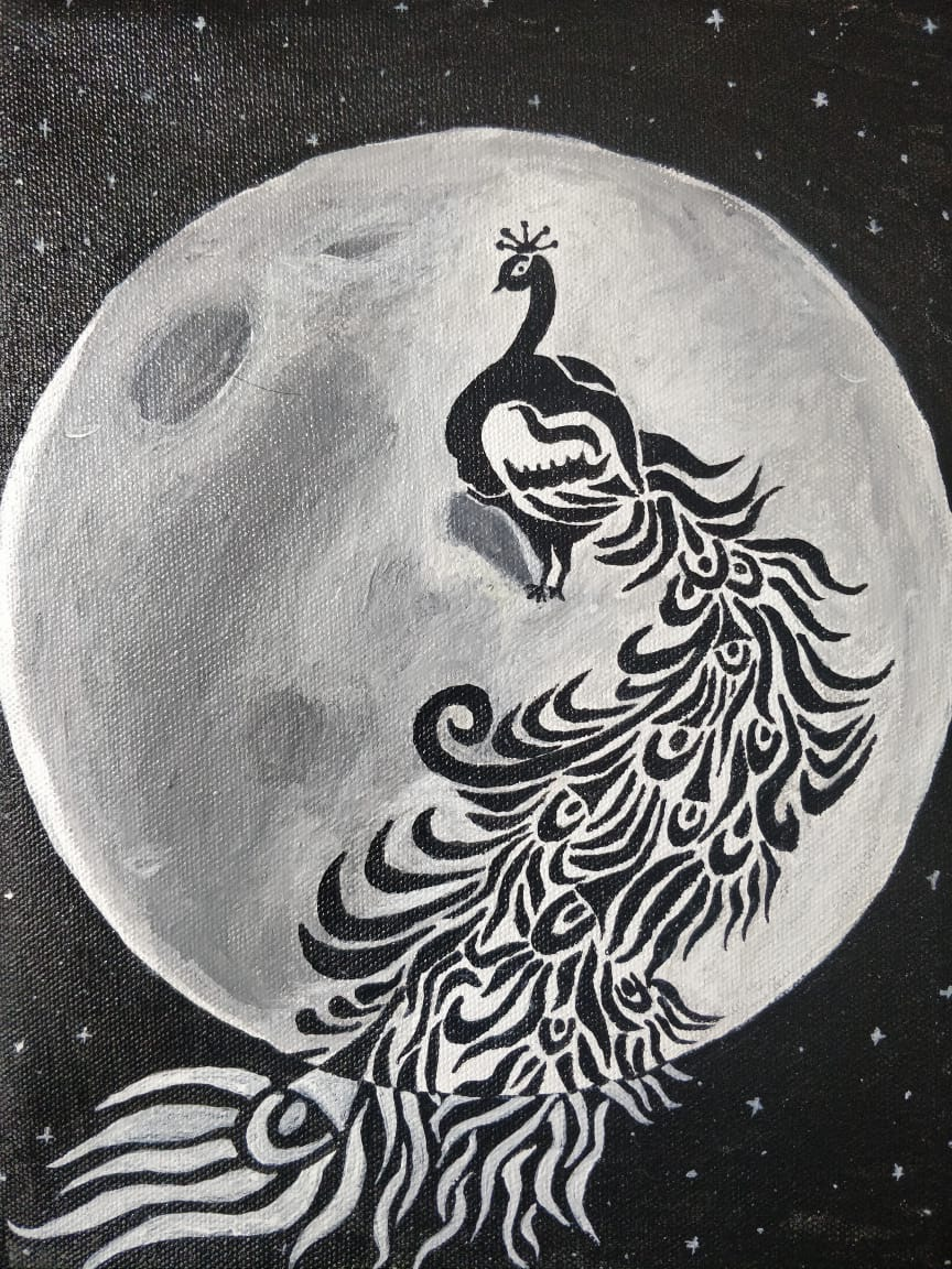 Moon Bird Acrylic On Canvas