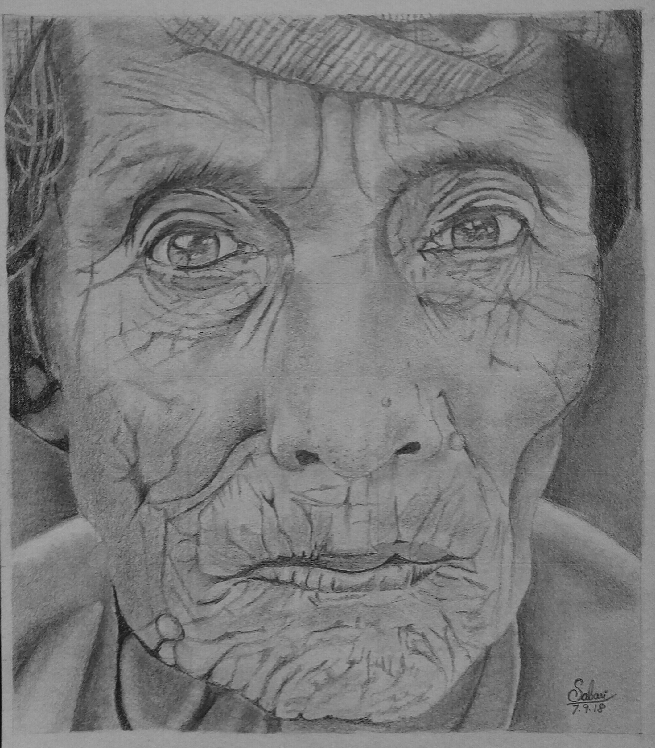 Photorealism Sketch Of Old Lady