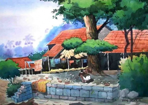 Village Landscape Painting