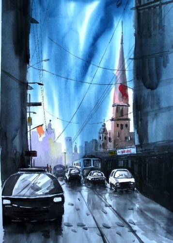 Watercolour Painting City