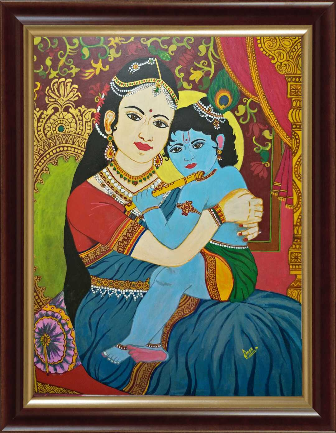 Baby Krishna Painting On Canvas