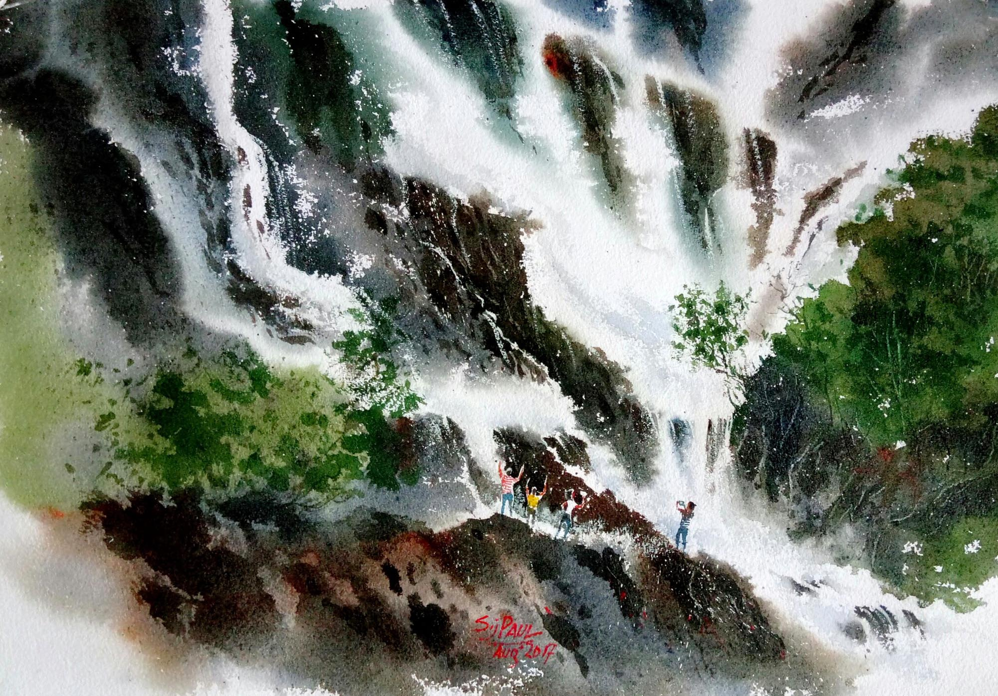 Waterfall Painting In Watercolor by Subhajit Paul